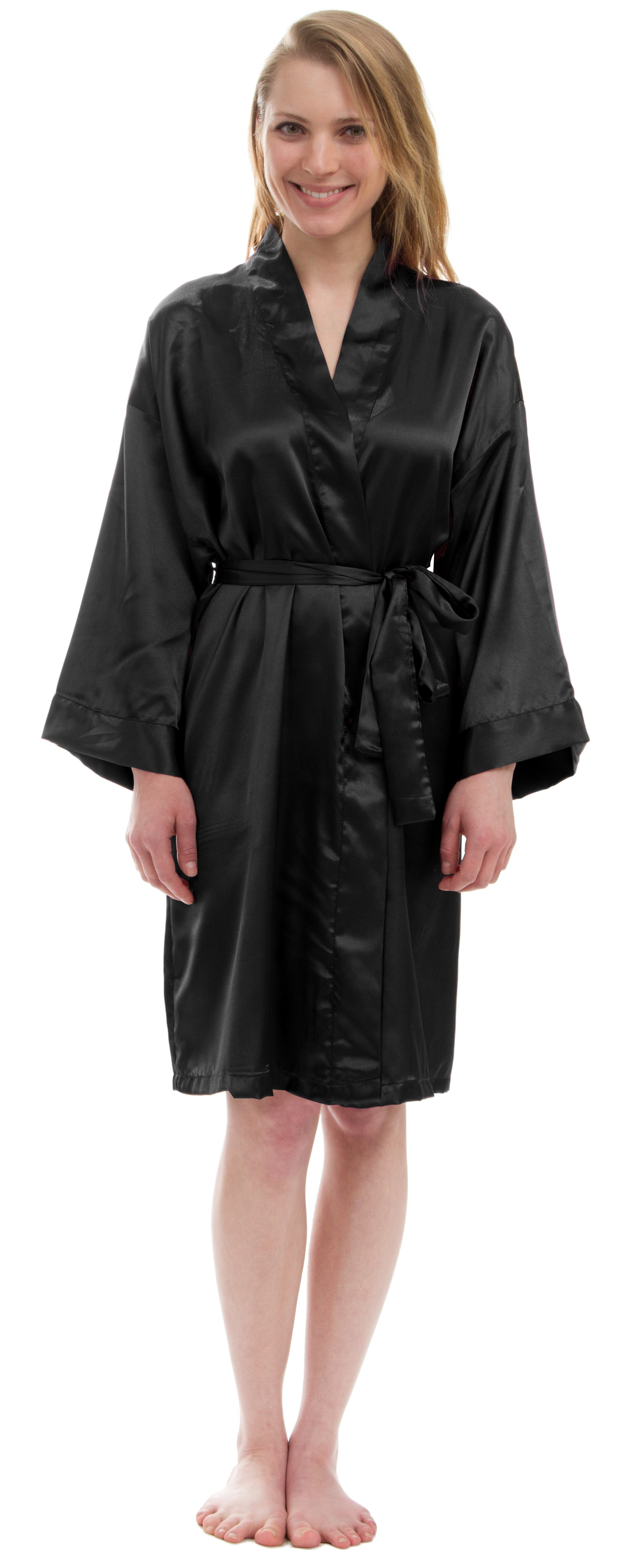 Women's Solid Silky Knee-Length Satin Robe