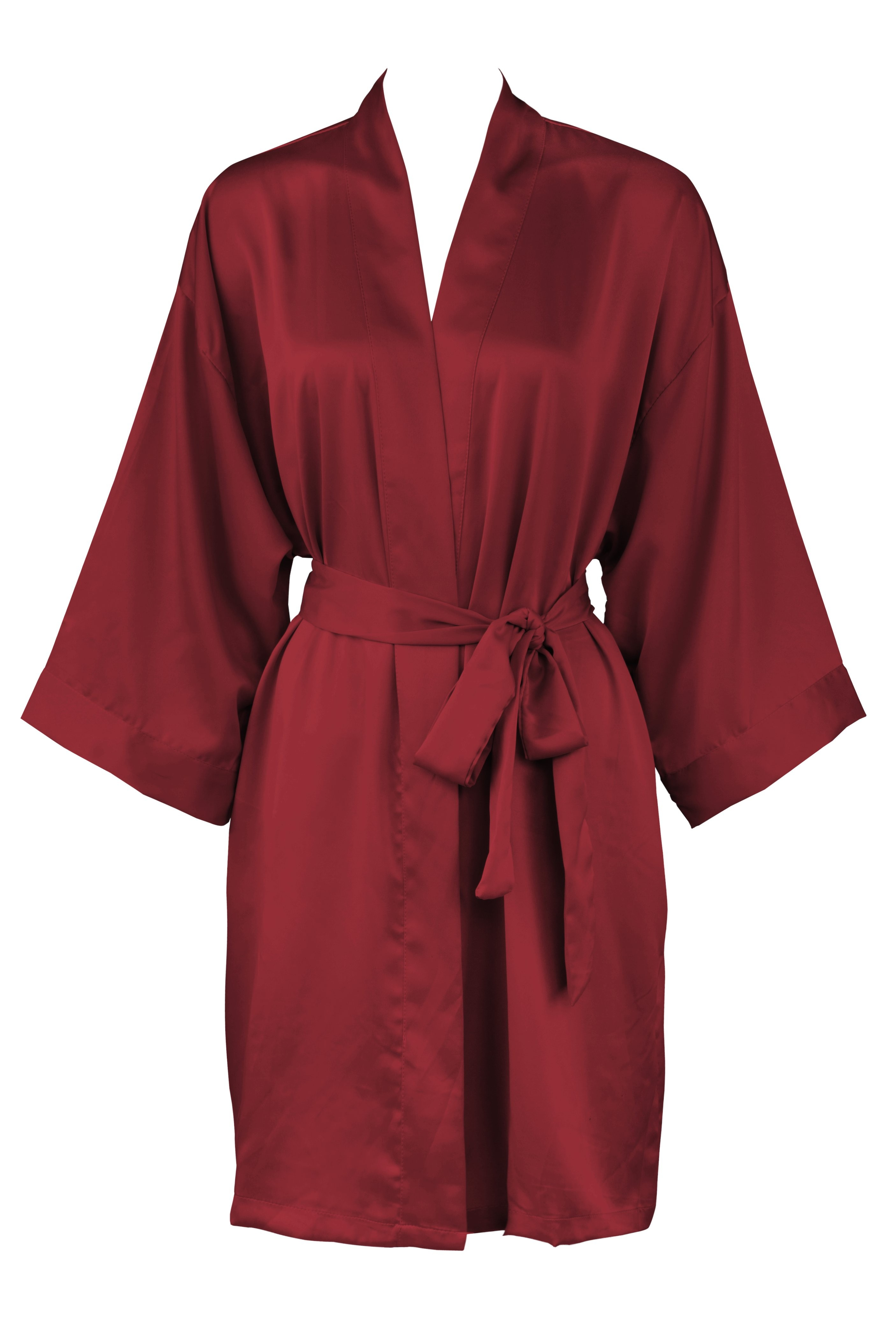 Leisureland Women s Matte Satin Kimono Robe Burgundy S M 5763171c2
