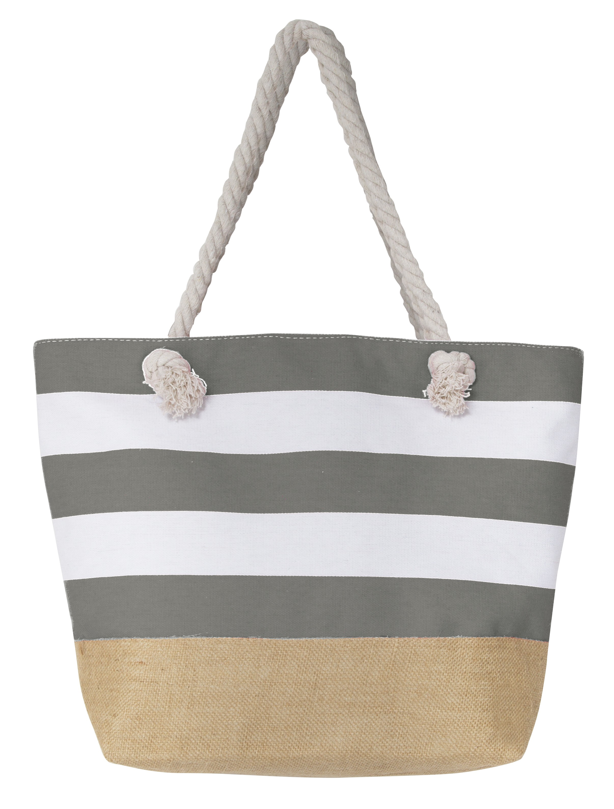 Leisureland Rope Handle Water Resistant Canvas Jute Tote Bag with Linen Bottom