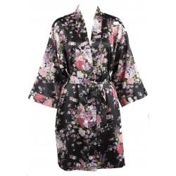 d20875608fa Leisureland Elastic Satin Kimono Short Robe Floral Black