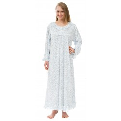 4ace3804708 Leisureland Long Sleeve Blue Floral Victorian Knit Nightgown