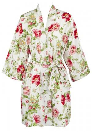 f63a77e533a Leisureland Women s Cotton Poplin Printed Floral Robe White XXL XXXL